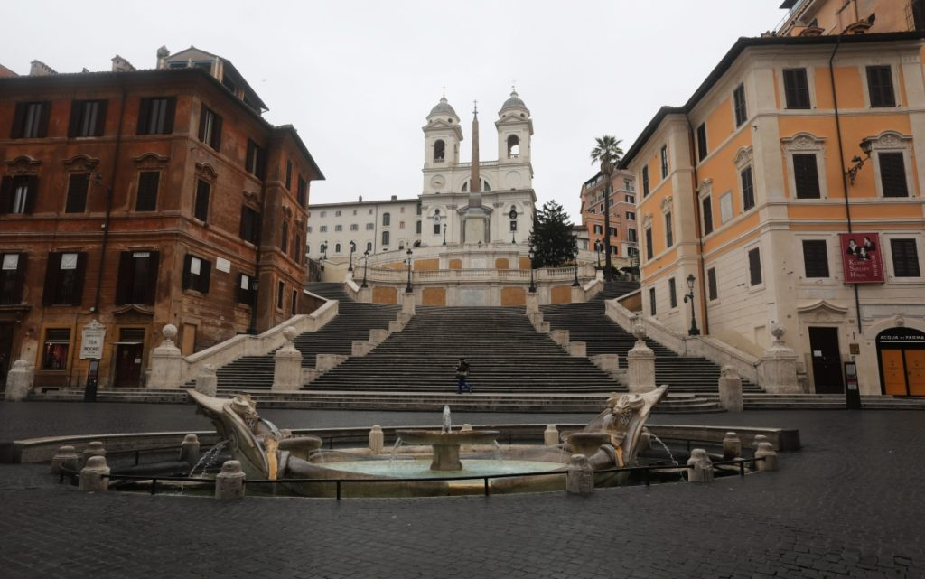 ROME, ITALY - MARCH 13: The Spanish Steps are seen completely empty on March 13, 2020 in Rome, Italy. Rome's streets were eerily quiet on the second day of a nationwide shuttering of schools, shops and other public places. Italy has more than 15,000 confirmed cases of COVID-19 and over a thousand related deaths. (Photo by Marco Di Lauro/Getty Images)