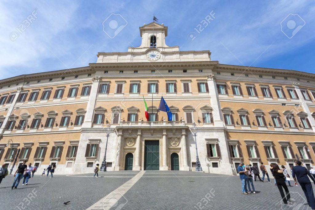Rome, Italy - April 28, 2012: Palazzo Montecitorio is a building in Rome, where the seat of the Chamber of Deputies of the Italian Republic.
